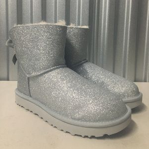 UGG Mini Bailey Bow Silver Sparkle Boots